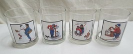 """1979 NORMAN ROCKWELL Set of 4 Arby's Winter 4"""" Collector Glass Tumblers ... - $25.16"""