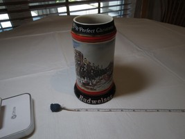1992 collectors series Mug Budweiser Christmas Beer Stein Clydesdales Ho... - $12.51