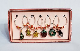 Set of 6 Pewter Wine Charms Christmas Themed Russ Berrie & Co New w/ Box... - $9.61