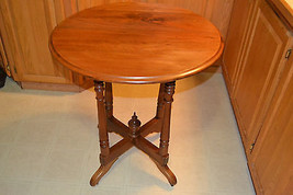 Victorian Walnut wood Table Turned legs c1875-85 Antique Vtg - $265.11