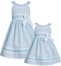 Little Girl 2T-6X Blue White Metallic Pencil Stripe Linen Fit Flare Social Dress