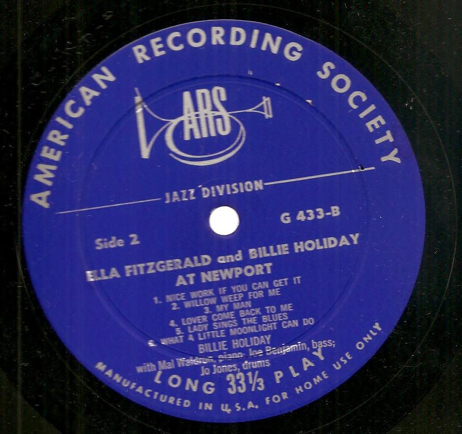 Ella Fitzgerald Billie Holiday Live Newport jazz LP American Recording Society
