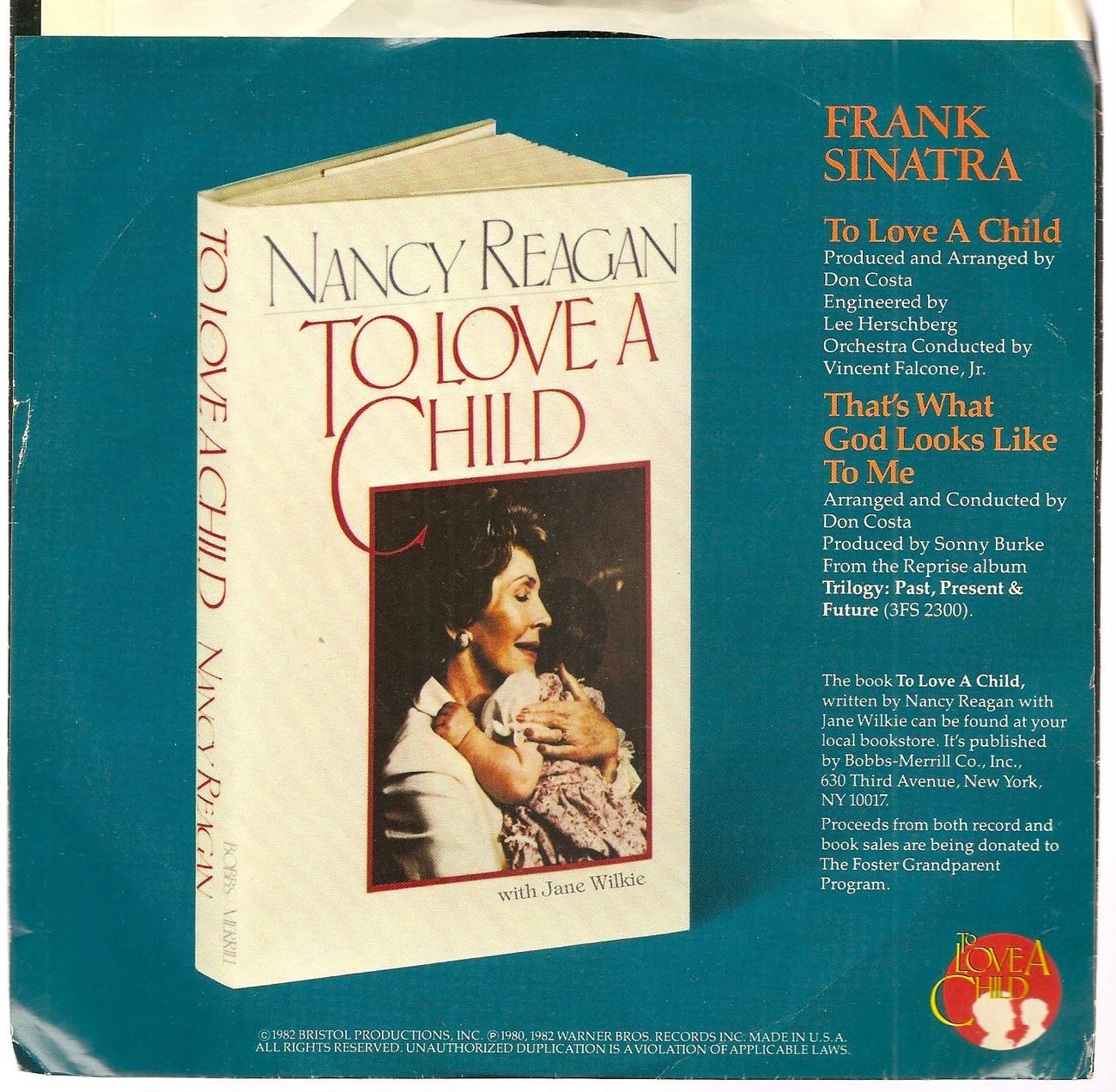 "Frank Sinatra Nikka Costa 7"" 45 PS To Love a Child Reprise Ronald Nancy Reagan"