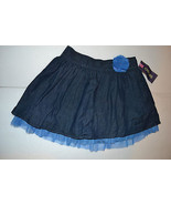 Girls Cherokee  Jean Skirt With Flower& Lace Ruffle- Size S 6/6X M 7/8 ... - $12.79