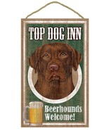 "Top Dog Inn Beerhounds Chocolate Lab Bar Sign Plaque dog 10""x16""  Beer L... - $21.95"