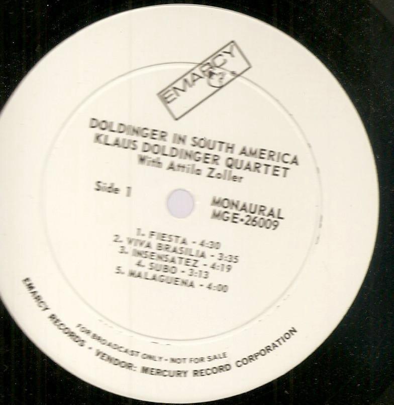 Klaus Doldinger Qt in South America Attila Zoller jazz guitar nm mono wlp German