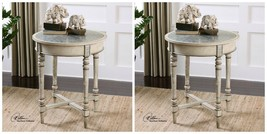 TWO NEW AGED IVORY WOOD ACCENT END SIDE TABLES ALUMINUM TOP GRAY ART WORK  - $699.60