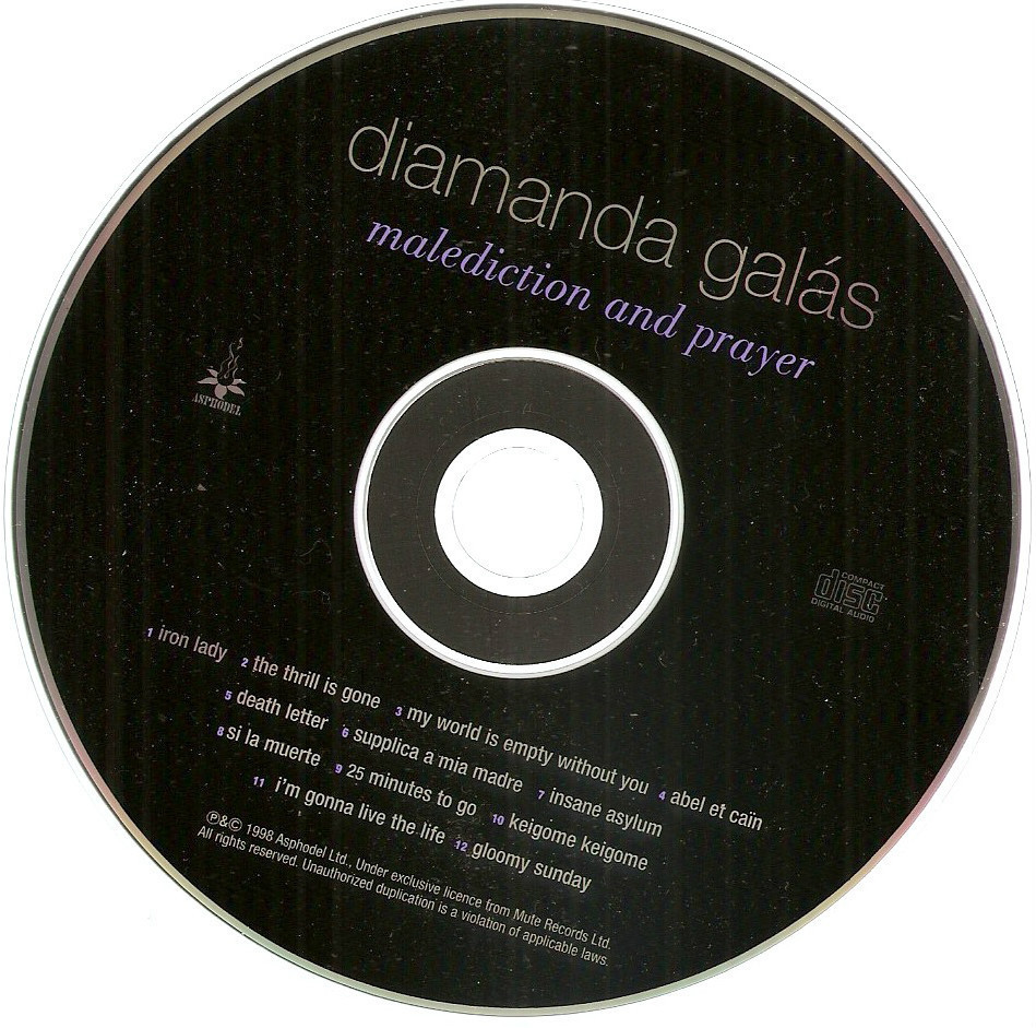 Malediction & Prayer Diamanda Galas US promo CD goth Gloomy Sunday Iron Lady