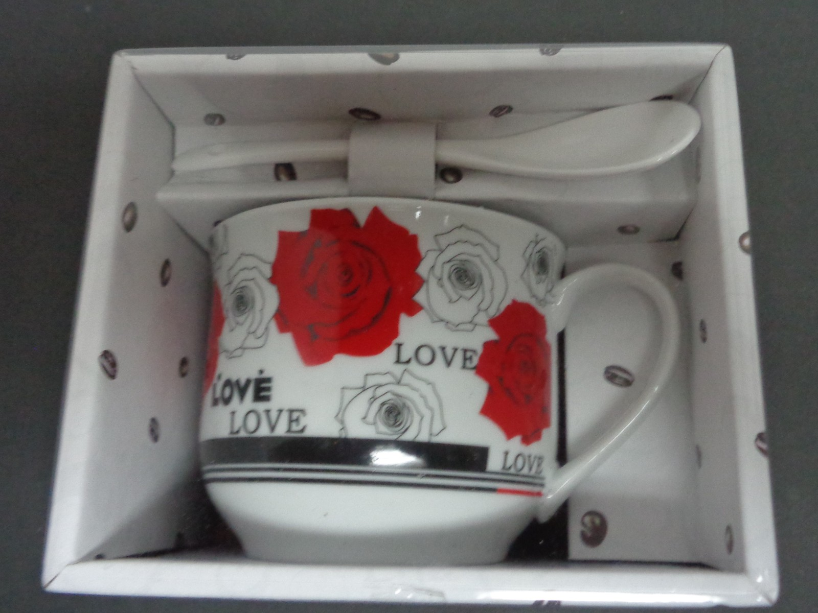 Porcelain Ceramic Coffee Cup & Stir Spoon Set NIB White Rose Love