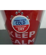 16oz Double Wall Acrylic Red Tumbler Cup Straw Keep Calm And Carry On NEW - $9.99