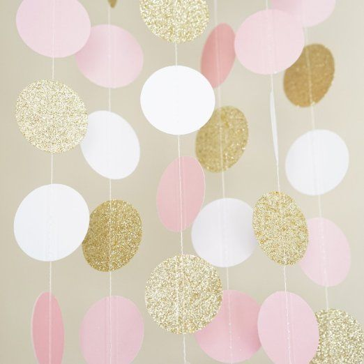 Pink white and gold glitter circle polka dots paper for Dots design apartment 8