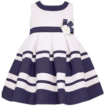 Baby Girls 3M-24M Navy-Blue White Colorblock Border Nautical Resort Dress