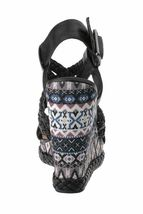 Not Rated Monaco Tribal Native American Print Braided Wedge Open Toed Sandal 8.5 image 3