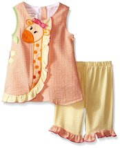 Bonnie Jean Baby Girls 3M-24M Orange Yellow Giraffe Seersucker Top/Capri Set