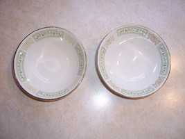 Homer Laughlin Green & Gold Pattern 2 Cereal bowls 5 ½ inches   2 inches... - $19.49