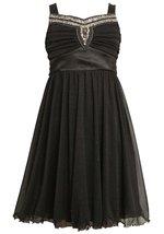 Big Girls Tween 7-16 Black Embellished Neckline Glitter Mesh Social Party Dress