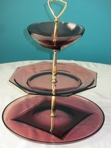 Moroccan Amethyst Glass Tray Tiered 1960's Co H... - $64.99