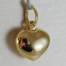18K YELLOW GOLD ROUNDED MINI HEART CHARM PENDANT FINELY HAMMERED MADE IN ITALY image 2