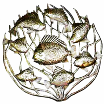 Fish in Coral Metal Wall Art 24 - inch Diameter... - $74.95