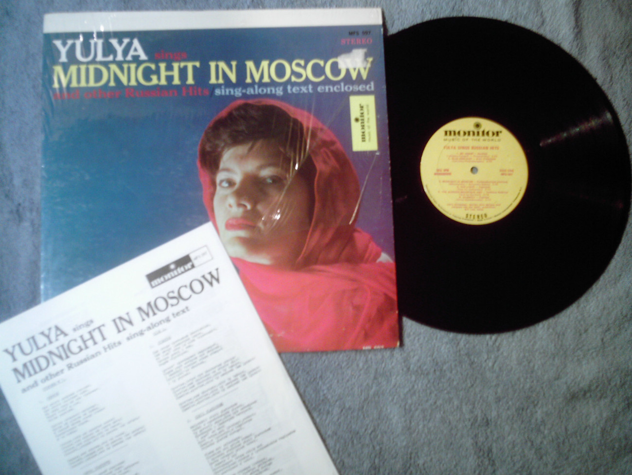 Yulya sings Midnight in Moscow  Russian folk Monitor MFS-597 stereo LP shrink