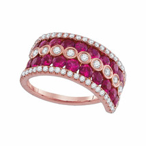18kt Rose Gold Womens Round Ruby Diamond Band Ring 3.00 Cttw - £2,128.17 GBP