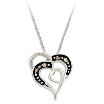 Sterling Antiqued Hearts Pendant & Necklace - Black Hills Gold - $79.20