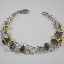 Bracelet in Sterling Silver 925 Rhodium Ball Gold Plated and Quartz ospreys' - $39.31