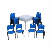 Lifetime 16-pack Kid's Stacking Chairs - Blue and 4-pack Stacking Tables... - $649.95