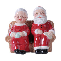 Mr and Mrs Santa Claus Magnetic Salt Pepper Shaker Christmas Xmas Relaxi... - $12.86