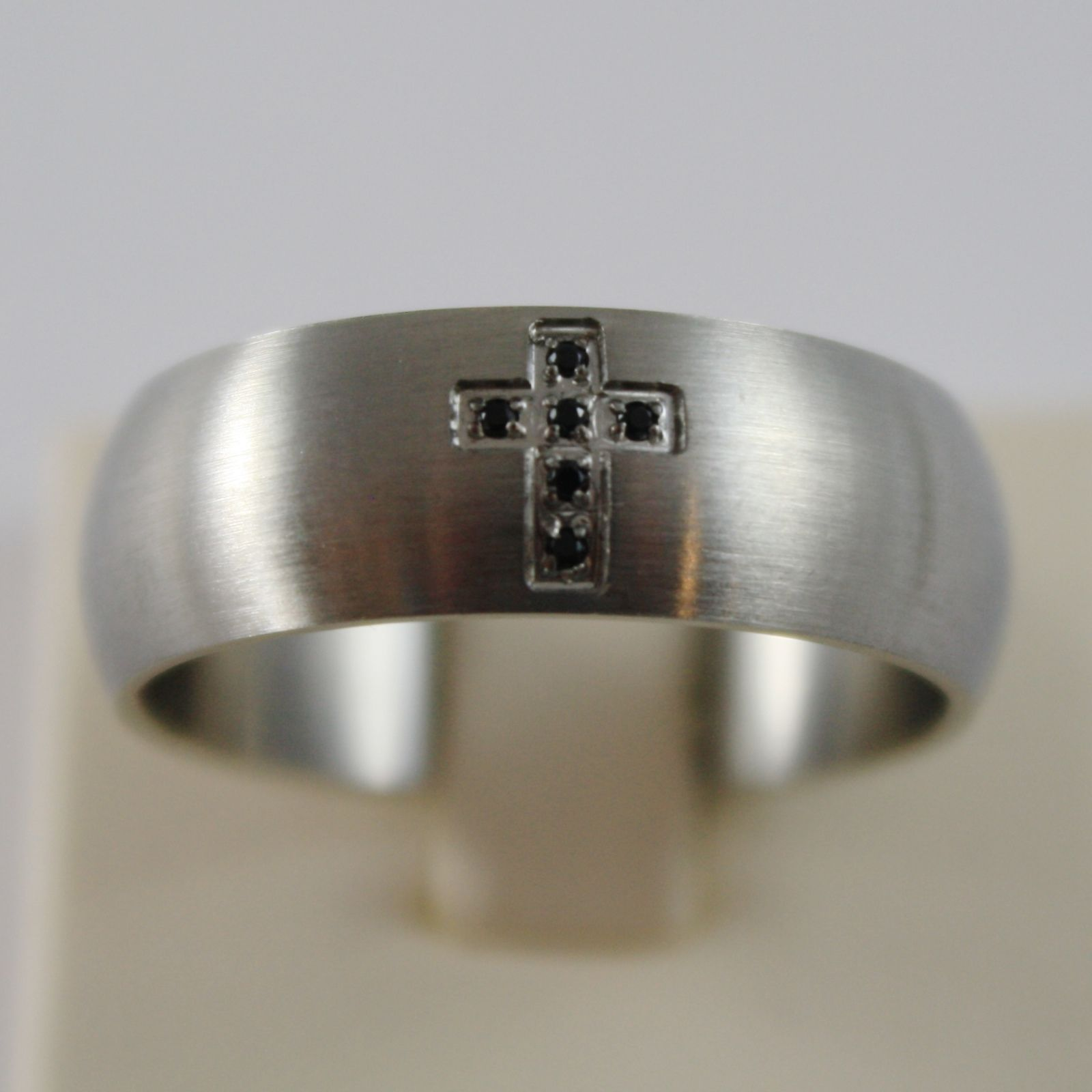 STAINLESS STEEL SATIN WITH BLACK ZIRCONIA CROSS RING 8 MM 4US BY CESARE PACIOTTI