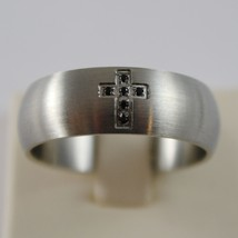 STAINLESS STEEL SATIN WITH BLACK ZIRCONIA CROSS RING 8 MM 4US BY CESARE PACIOTTI image 1