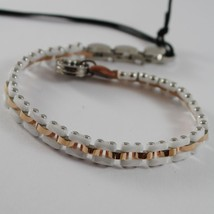 STAINLESS ROSE STEEL AND WHITE CERAMIC TANK MESH BRACELET 4US BY CESARE PACIOTTI image 1