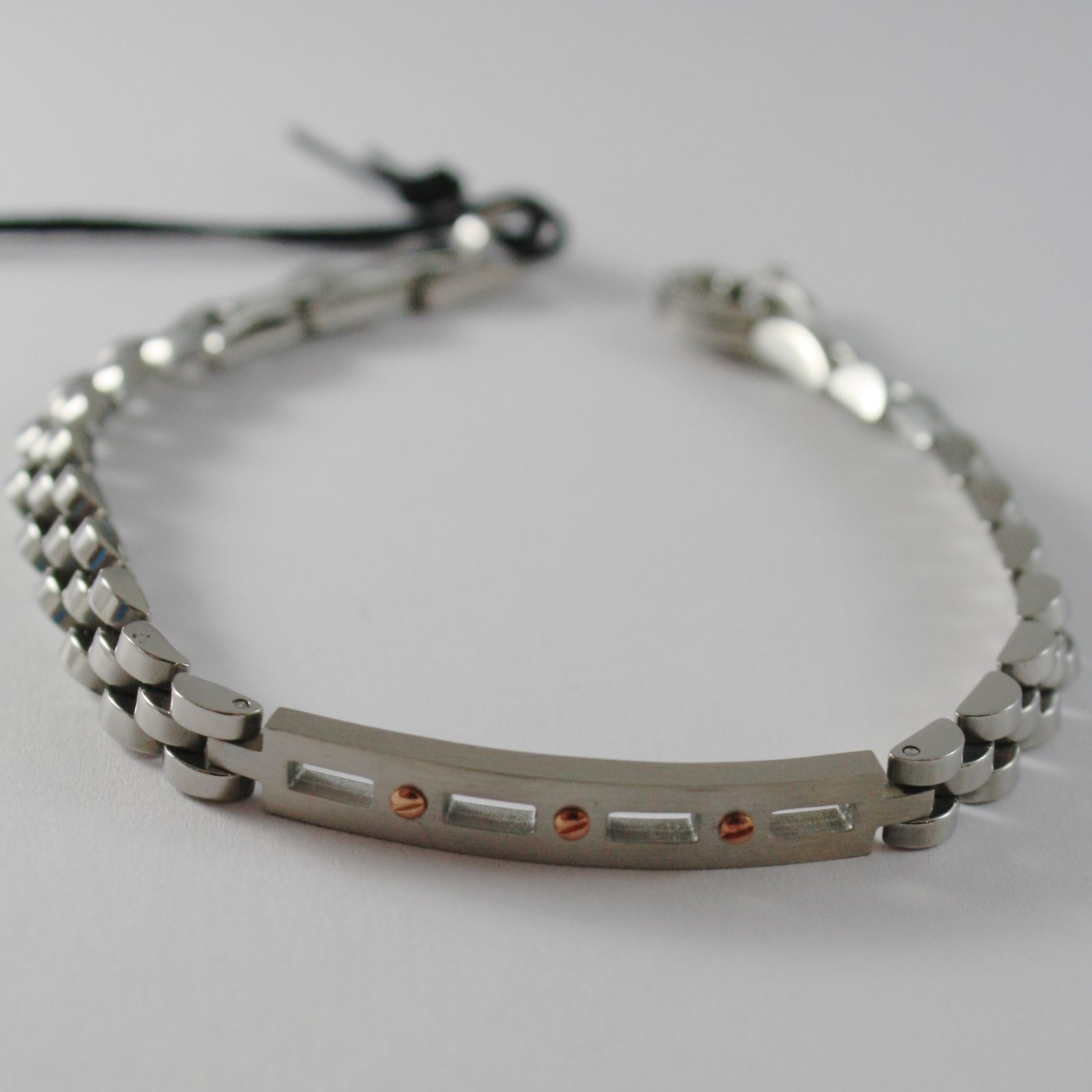 STAINLESS SATIN WHITE & ROSE STEEL ONDULATE BRACELET, 4US BY CESARE PACIOTTI