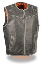 MEN'S MOTORCYCLE VINTAGE DISTRESSED GREY ZIPPER FRONT BUTTER SOFT LEATHE... - $121.26+