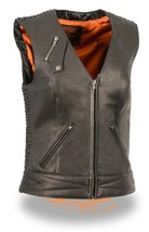 LADIES MOTORCYCLE BLACK BUTTER SOFT LEATHER VEST W/ CRINKLE DETAILING SN... - $102.53+