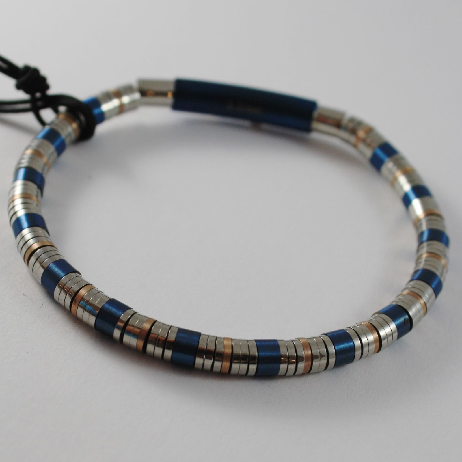 STAINLESS BLUE WHITE & ROSE STEEL TUBE DISCS BRACELET, 4US BY CESARE PACIOTTI