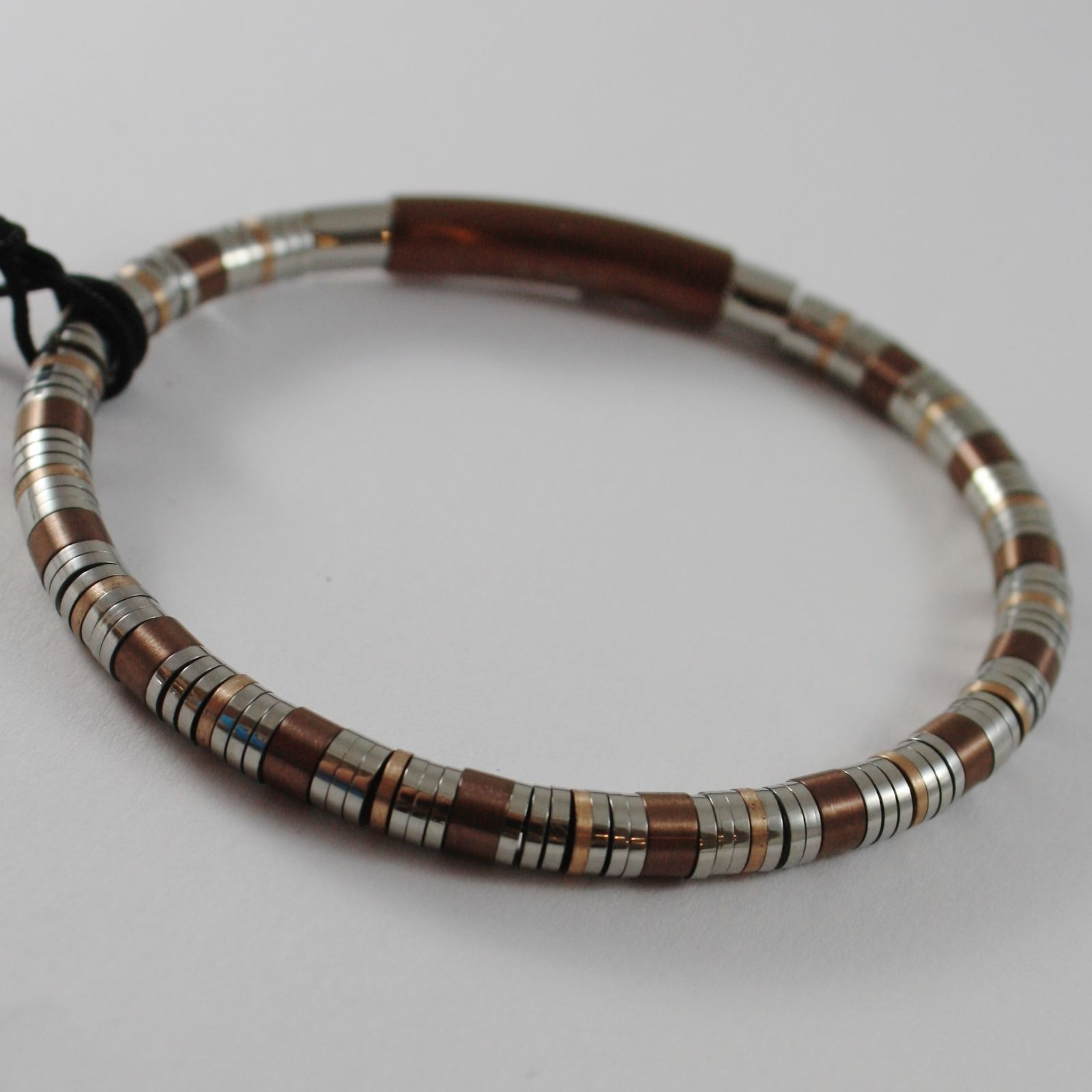 STAINLESS BROWN WHITE & ROSE STEEL TUBE DISCS BRACELET, 4US BY CESARE PACIOTTI