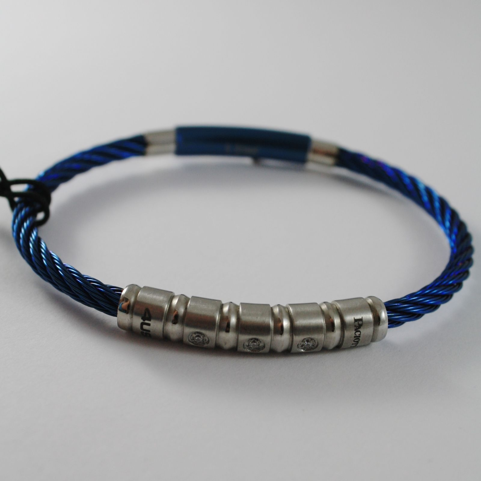 STAINLESS BLUE STEEL WIRE CABLE RIGID ZIRCONIA BRACELET 4US BY CESARE PACIOTTI