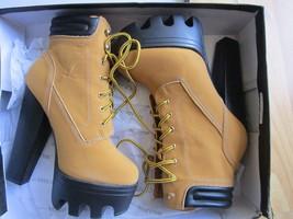 Women's Camel High Heels Platform Shoes Lace Ups Ankle Boots WILD DIVA 7.5US - $27.93