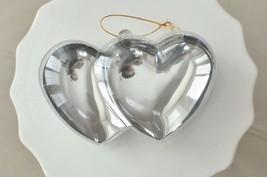 Plastic Silver Chrome Double Heart Container Ornament Favor Fillable - $5.95