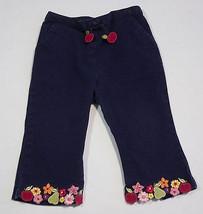 GYMBOREE GIRLS 12M 18M PANTS APPLE FOR TEACHER NAVY BLUE FRUITS & FLOWER... - $10.93
