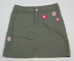 OLD NAVY GIRLS SIZE 7 SKIRT OLIVE GREEN PINK FLOWERS RHINESTONES FLORAL ... - $9.25