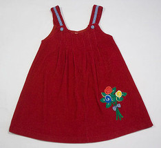 SAMARA GIRLS SIZE 5 RED JUMPER DRESS PLEATS CORDUROY FLORAL BOUQUET FLOWERS - $8.41
