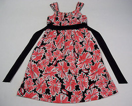 SPEECHLESS GIRLS SIZE 14 DRESS CORAL & BLACK FLORAL PRINT FLOWERS - $10.93
