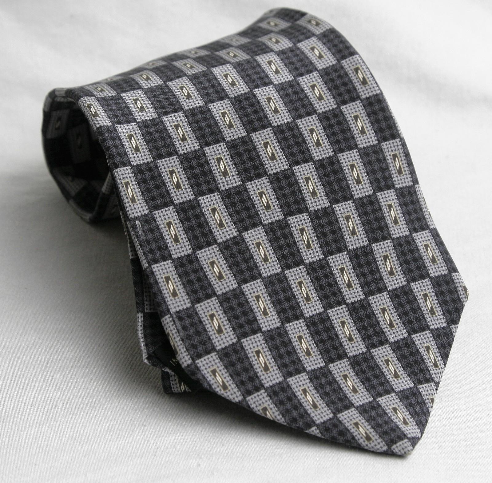 Kenneth Cole  Tie Necktie Geometeric Gray, White, Black Gold