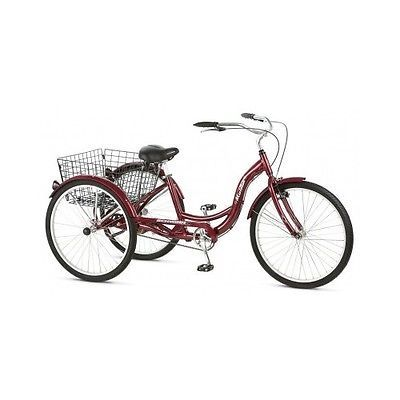 Schwinn Cruiser Bicycle Tricycle Adult Classic Ride Basket 3 Wheel 26 Trike Red