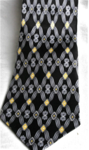 Zylos by George Machado 100% Silk Neck Tie Geometric  Black, Smokey Gray... - $8.73