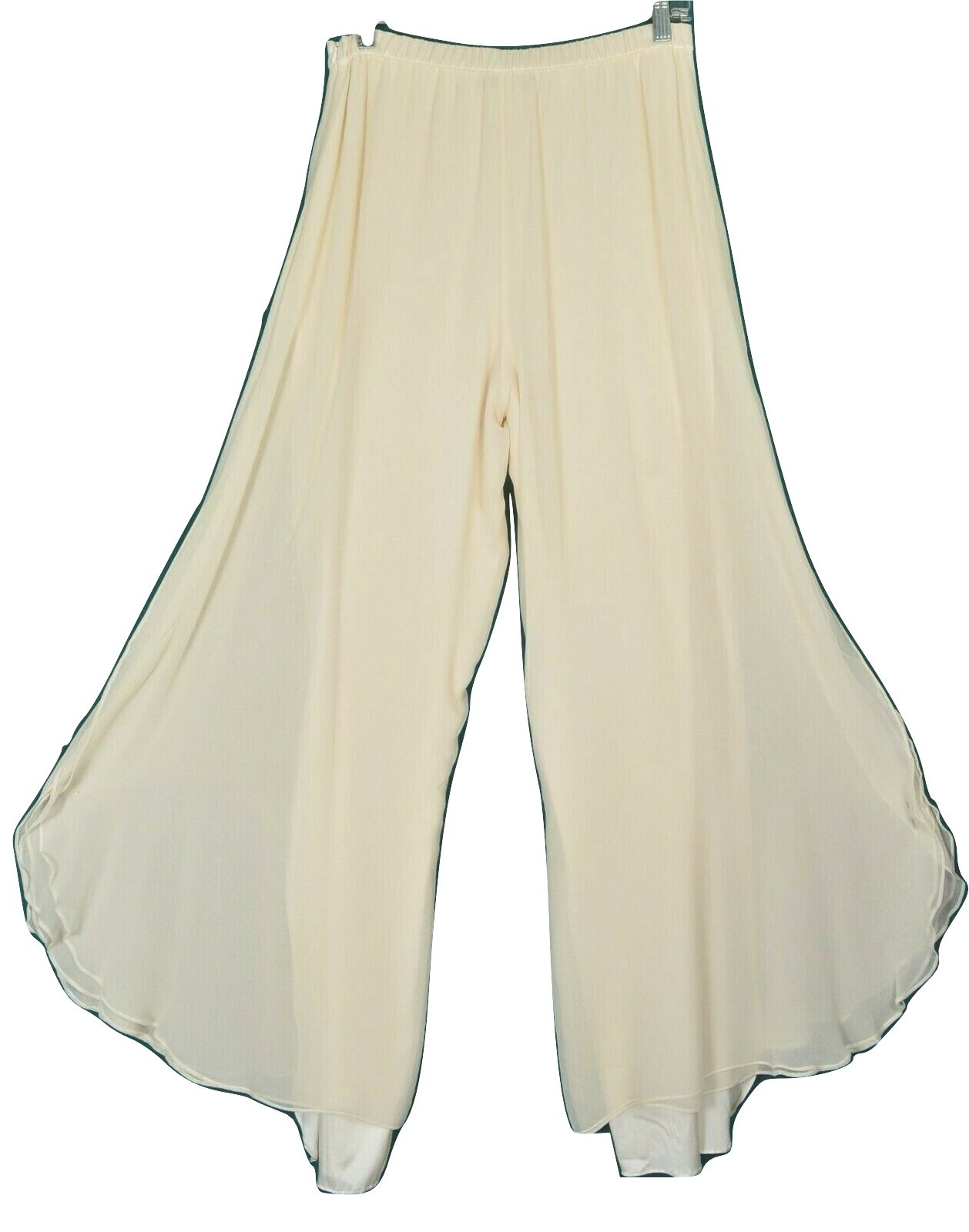St John pants Evening SZ 8 off-white cream 2-layer silk long slits on leg USA image 10
