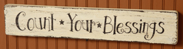 8W1439 Count Your Blessings  primitive wood S... - $21.95