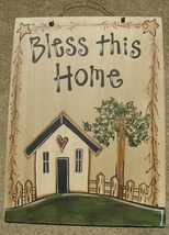 EWA21141-Bless This Home primitive wood Sign  - $19.95